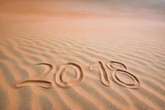2018 written text in tropical sand.