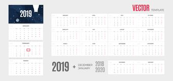 Free 2019 Calendar. Vector Quarterly Template Ready For Print With Fun Space Background And 3 Month Pages For Wall. Stock Image - 131510261