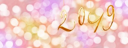 2019 golden numbers, holiday colorful background with blurred bokeh lights stock image