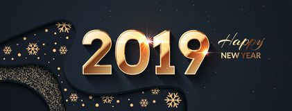 2019 Happy New Year Dark And Gold Background Stock Image
