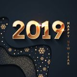 2019 Happy New Year Dark And Gold Background Stock Photos