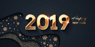 2019 Happy New Year Dark And Gold Background Royalty Free Stock Image