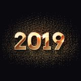 2019 Happy New Year Dark And Gold Background Royalty Free Stock Photo