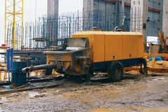 202 - Concrete pump. Powerful Concrete-pumping stations in the dam Royalty Free Stock Image