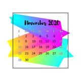 2020本日历设计摘要概念 2020年11月 库存例证图片
