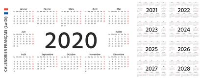 Free 2020 2021 2022 French Calendar. Vector Illustration. Template Year Planner Stock Photography - 161046542