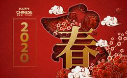 Free 2020 Chinese New Year Greeting Card Zodiac Sign With Paper Cut. Year Of The Rat. Golden And Red Ornament.Concept For Holiday Banne Royalty Free Stock Image - 164464836
