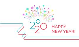 2020 Happy New Year! Festive Greeting Card In A Minimalist Line Art Style Stock Photos