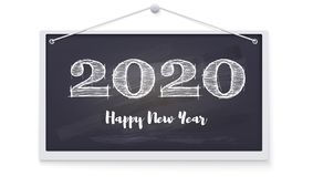 2020 Happy New Year Greeting Card. Festive Background On Chalkboard Hanging On A Wall. Stylish Retro Lettering For Royalty Free Stock Photo