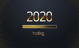 2020 Loading Background New Year Concept. Holiday Web Banner With Glittering Golden Design. Royalty Free Stock Photo