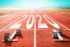 Free 2020 New Year Celebration On The Racing Lane With Starting Block Stock Images - 162312154