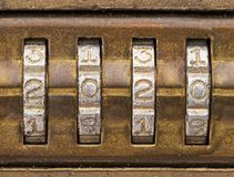Free 2020 On An Old Brass Combination Lock Royalty Free Stock Photo - 152979645
