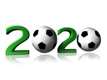 2020 soccer logo. It's a big 2020 soccer logo on a white background stock photography