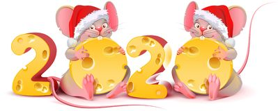 Free 2020 Year Of Mouse Calendar. Two Twin Mice Are Holding Cheese. Rat In Red Santa Christmas Hat Stock Photos - 161041153