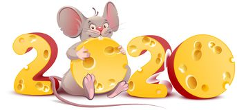 Free 2020 Year Of Mouse. Cute Cartoon Rat Holds Cheese Stock Images - 158634544
