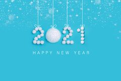 Free 2021 New Years Numbers Made Of White Artificial Snow On Blue Background Royalty Free Stock Images - 200862439