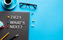 Free 2021 What`s Next  Text On Work Table.trends Research And New Things.business Startup Royalty Free Stock Image - 205025076
