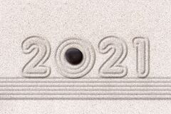 Free 2021 Zen Raked Sand Garden Holiday Greeting Card Stock Photos - 199573183