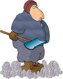 使用铲子工作的人雪 皇族释放例证