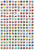 204 flags of the world. Vector collection of all national flags of the world including Europe union flag and some nonindependent countries - Basque, Greenland royalty free illustration