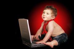 儿童计算机演奏s 免版税库存照片