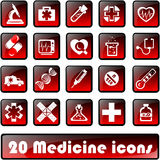 20medicine icons. Web server of the button and icon for sites and internet of resources, on a medical subject. Gradient Stock Photos