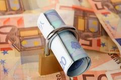 20s euro bloqueado para arriba Fotografía de archivo libre de regalías