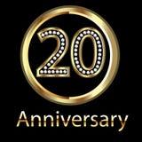 20th золото дня рождения годовщины Стоковое Изображение RF