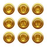 21个按钮金图标设置了万维网 免版税库存图片
