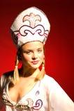 21严重的女孩照明设备当事人俄语 库存照片
