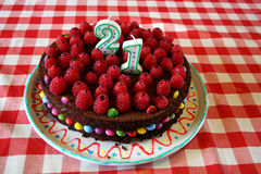 21. Geburtstagkuchen Stockfotografie