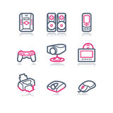 21 koloru konturowa ikony sieć Zdjęcie Stock