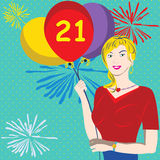 21.st birthday. Vector illustration of a young female holding balloons. The 21 on a red balloon indicates that it's her birthday Stock Photography