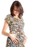 21 weken gelukkige zwangere vrouwen Royalty-vrije Stock Foto