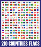 210 countries flags + vector file Royalty Free Stock Photos