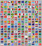 216 Flags of the world. 216 Flags of world, flat vector illustration, set Royalty Free Stock Images