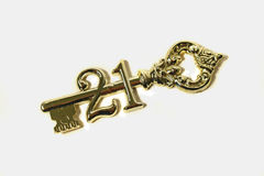21st Birthday Key. Symbolic golden 21st birthday key Royalty Free Stock Photography