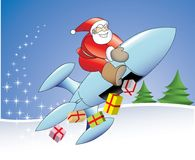 21st century rocket santa. An illustration of a different, modern santa without the deers vector illustration