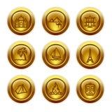 22 иконы золота кнопки установили сеть Стоковые Изображения