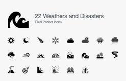 22 значка пиксела погод и бедствий совершенных Стоковые Фотографии RF