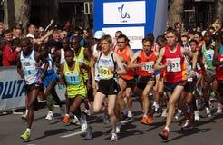 第22个贝尔格莱德马拉松起始时间 免版税图库摄影