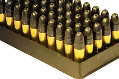 .22 Bullets In A Tray Royalty Free Stock Images