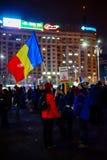 22. dag för rumänsk protest i Bucharest, Rumänien Royaltyfria Foton