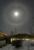 22 degree halo and moon Royalty Free Stock Image