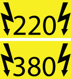 220-380Voltage. 220 and 380 electricity hazard sings Royalty Free Stock Photography