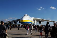 An-225 Mriya. KYIV, UKRAINE - SEPTEMBER 29: World biggest plane Antonov An-225 Mriya (Dream) during 8th International Aviation Salon AVIASVIT-XXI;September  29 Stock Images