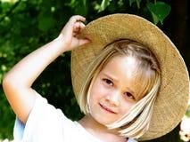 女孩帽子秸杆 免版税库存图片
