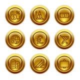 23个按钮金图标设置了万维网 免版税库存照片