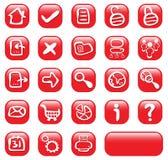 23个按钮光滑的红色万维网 免版税库存图片