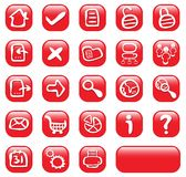 23 red glossy web buttons stock illustration
